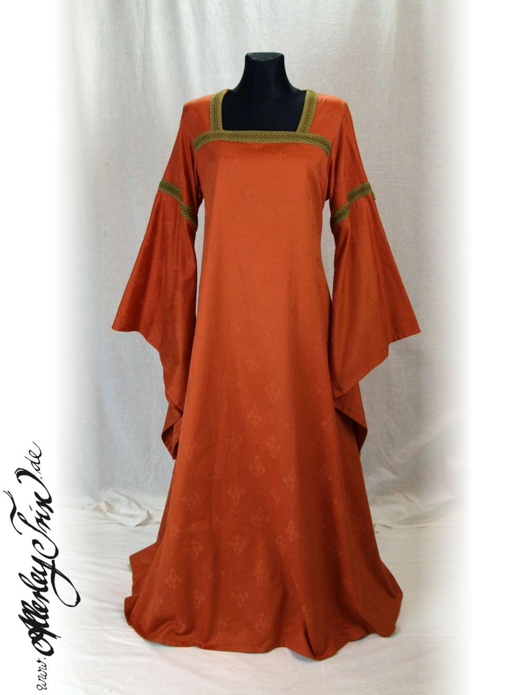 edles oranges mittelalter kleid gewand gr 38 48 larp. Black Bedroom Furniture Sets. Home Design Ideas